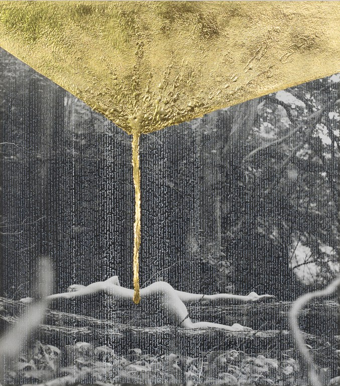 Thomas Sing | Contémplation 0032: In secreta et occulta iussione | 50 x 50 cm (framed) | photography, painting and writing | China ink and 24 ct gold on silver gelatin print | 2019 |